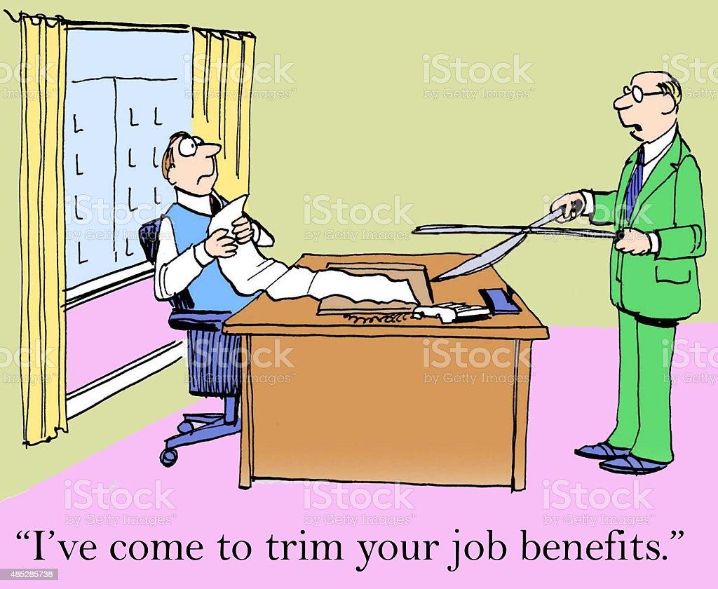 Cutting Job Benefits vector art illustration