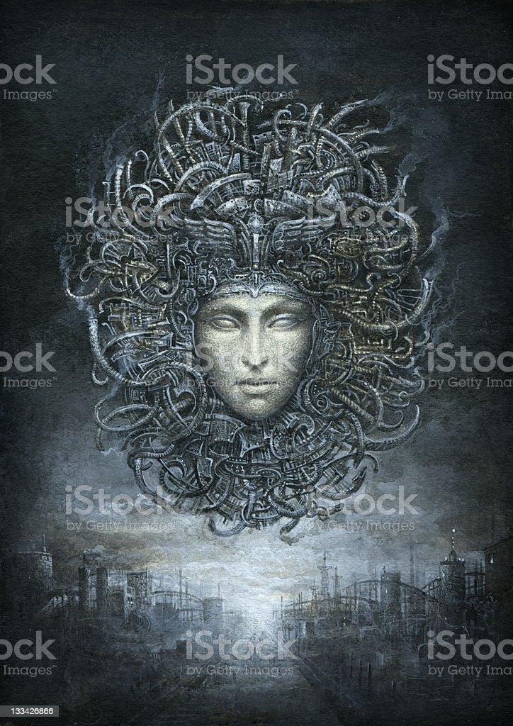 Cyber Gorgon vector art illustration