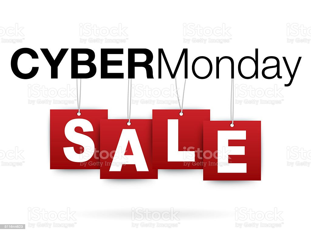 Cyber Monday add or flyer with percent sale vector art illustration