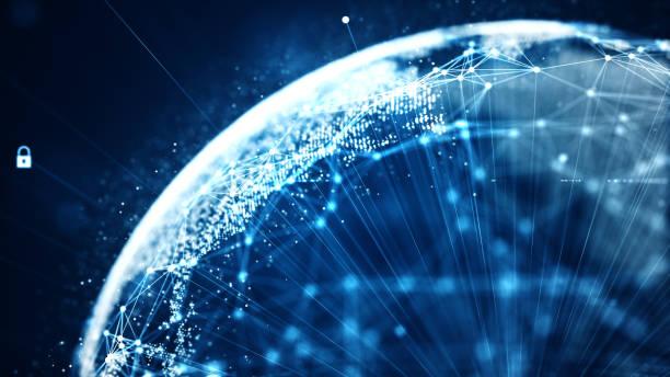Cyber-Sicherheit und globales Kommunikationskonzept. – Vektorgrafik