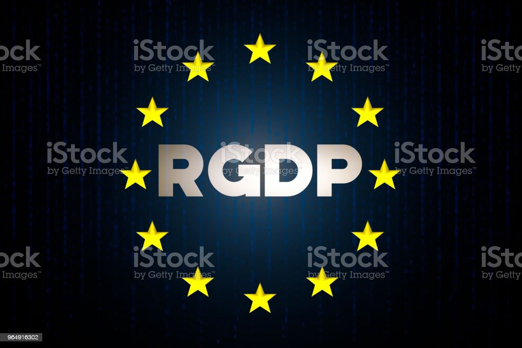 RGDP cyber security data concept with europe star flag with matrix on a blue background royalty-free rgdp cyber security data concept with europe star flag with matrix on a blue background stock vector art & more images of blue