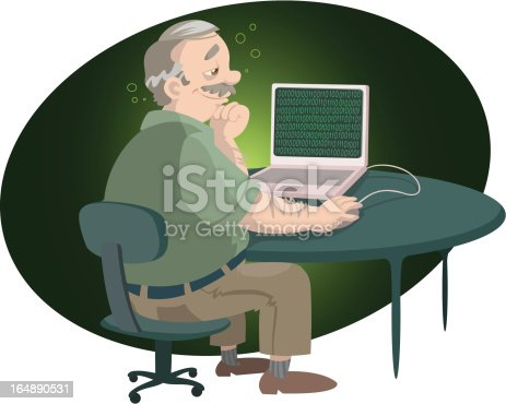 A man and his laptop with heart shaped code on the screen. Elements on separate layers.