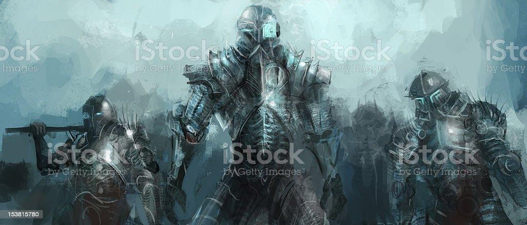 cybernetics army vector art illustration