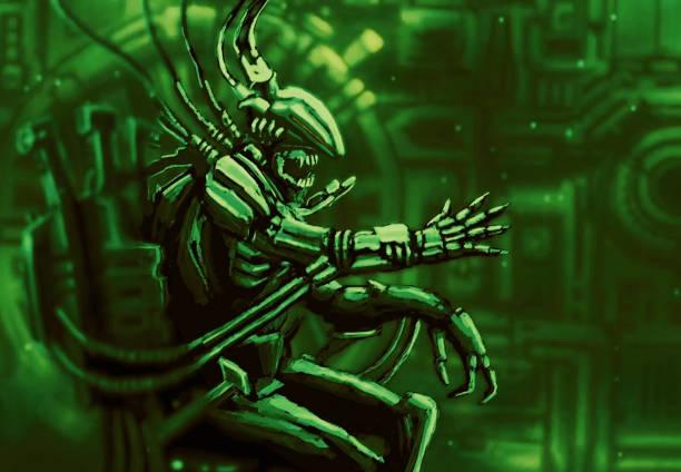 bildbanksillustrationer, clip art samt tecknat material och ikoner med cyborg pilot sitter och hanterar främling fartyget - tron sci fi