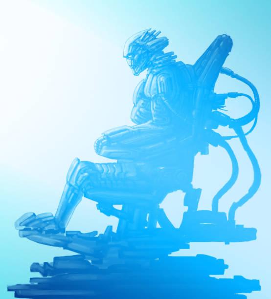 bildbanksillustrationer, clip art samt tecknat material och ikoner med cyborg pilot sitter i kostym på tronen järn. science fiction illustration. - tron sci fi