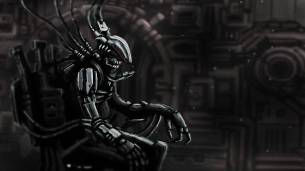bildbanksillustrationer, clip art samt tecknat material och ikoner med cyborg pilot sitter i kostym på järntron - tron sci fi