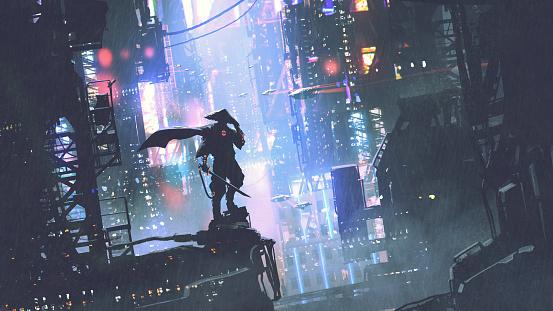 cyborg warrior in a futuristic world