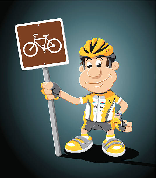 "Cyclist Cartoon Man Cycling Traffic Sign ""Vector Illustration of a cartoon cyclist, who is holding a road sign with a bicycle. The background is on a separate layer, so you can use the illustration on your own background. The colors in the .eps-file are ready for print (CMYK). Included files: EPS (v8) and Hi-Res JPG."" cartoon people sign stock illustrations"