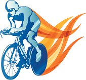 Stylized cyclist illustration.