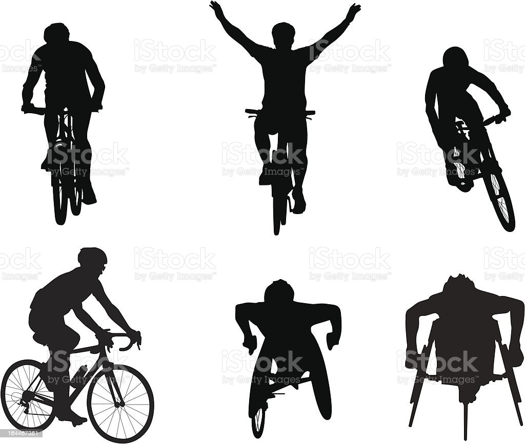 Cyclists and wheelchair racers vector art illustration