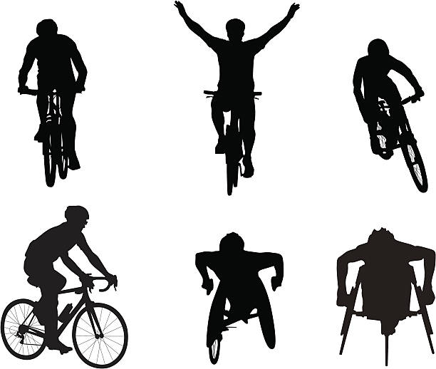 cyclists and wheelchair racers - wheelchair sports stock illustrations, clip art, cartoons, & icons