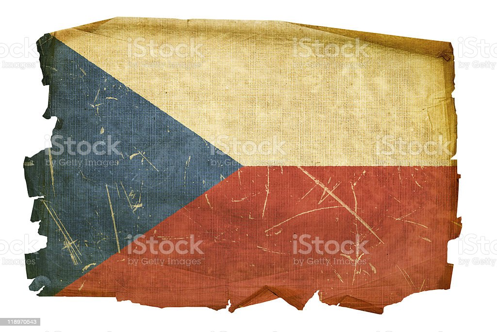 Czech Flag old, isolated on white background. royalty-free stock vector art