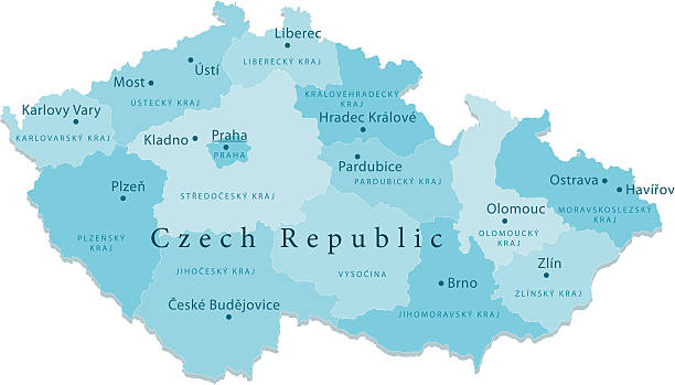 stockillustraties, clipart, cartoons en iconen met czech republic vector map regions isolated - tsjechië