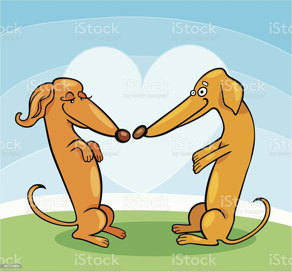 Dachshund Dogs in Love royalty-free stock vector art