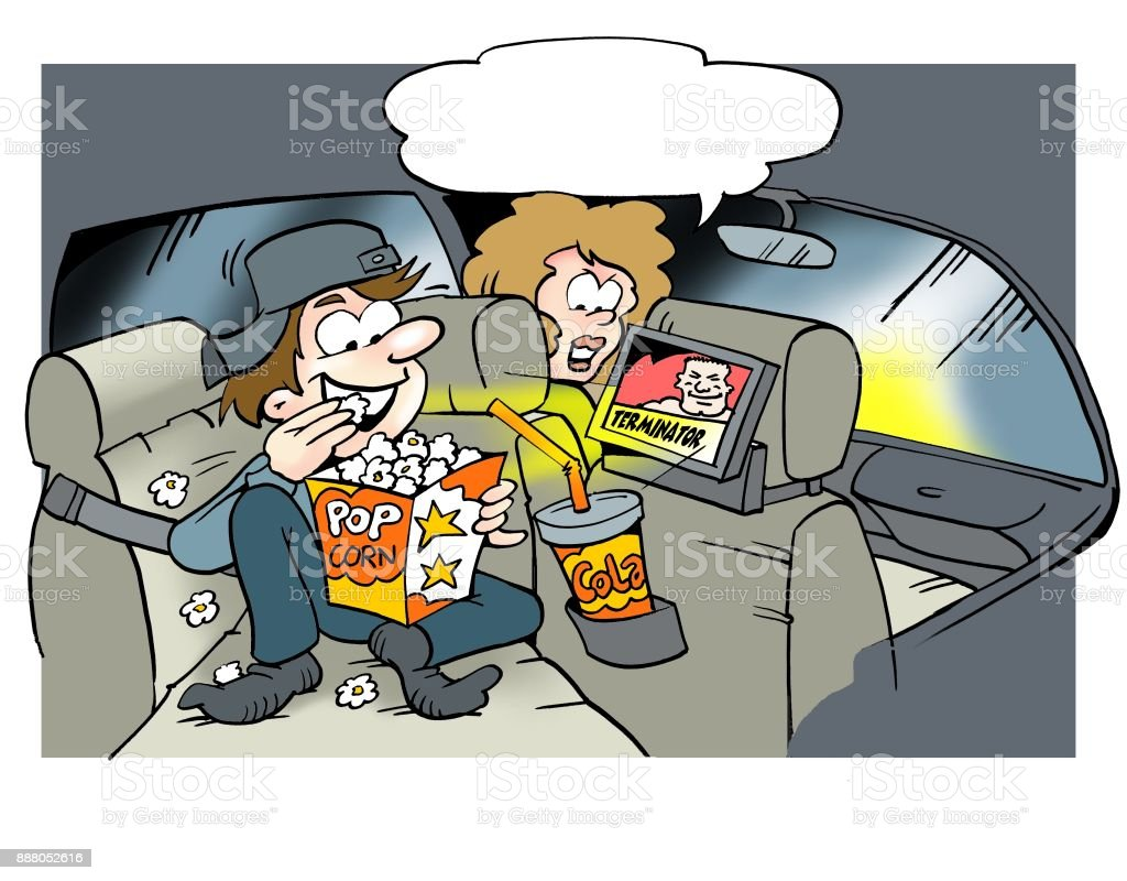 Daddy looking video movies on the back seat vector art illustration