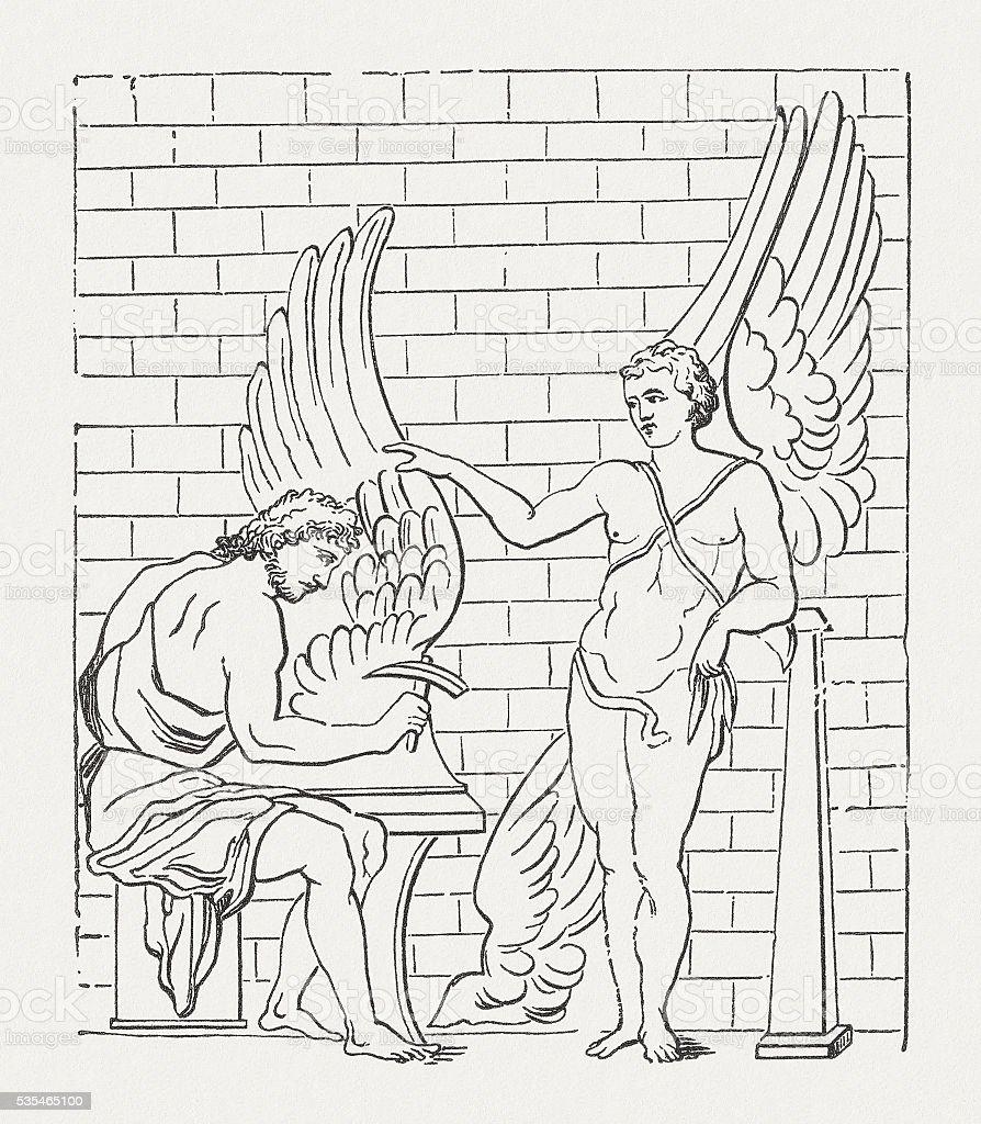 daedalus and ikarus greek mythology wood engraving published in