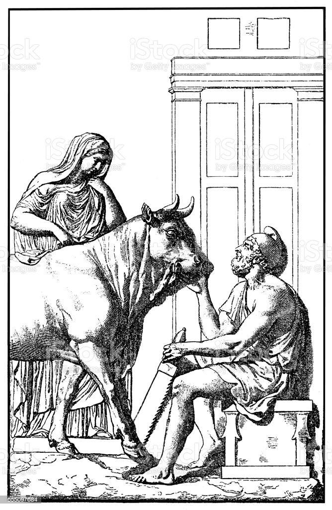 Daedalus delivering the wooden cow to Pasiphae ,Pasiphaë vector art illustration