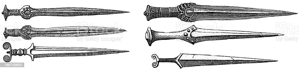 Daggers from Bronze Age (antique wood engraving) vector art illustration