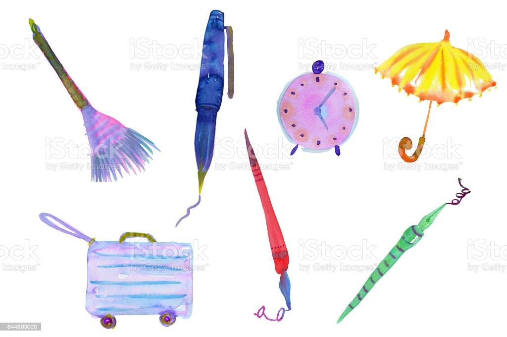 Daily essentials vector art illustration