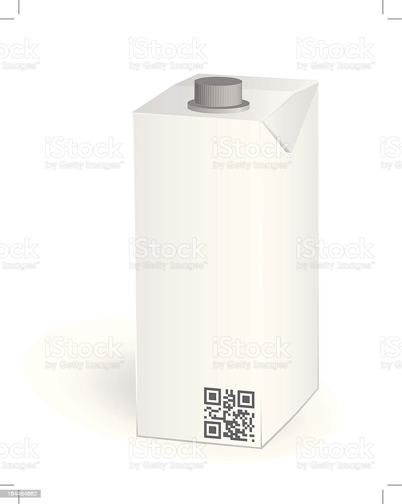 Dairy products packs with qr code vector art illustration