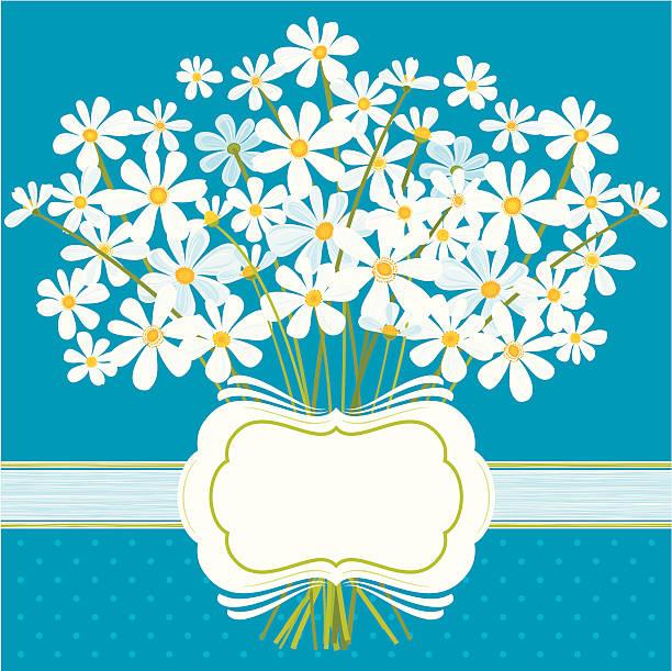 Daisies on Blue vector art illustration
