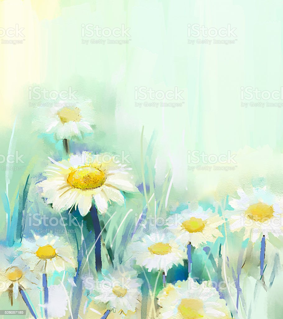 Daisy flowers painting.Abstract flower oil painting vector art illustration