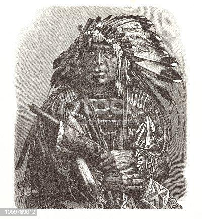 Steel engraving Dakota chief native american Original edition from my own archives Source : Illustrierte Chronik der Zeit 1886