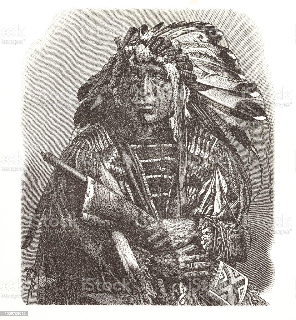 Dakota Indianer Häuptling Porträt illustration – Vektorgrafik