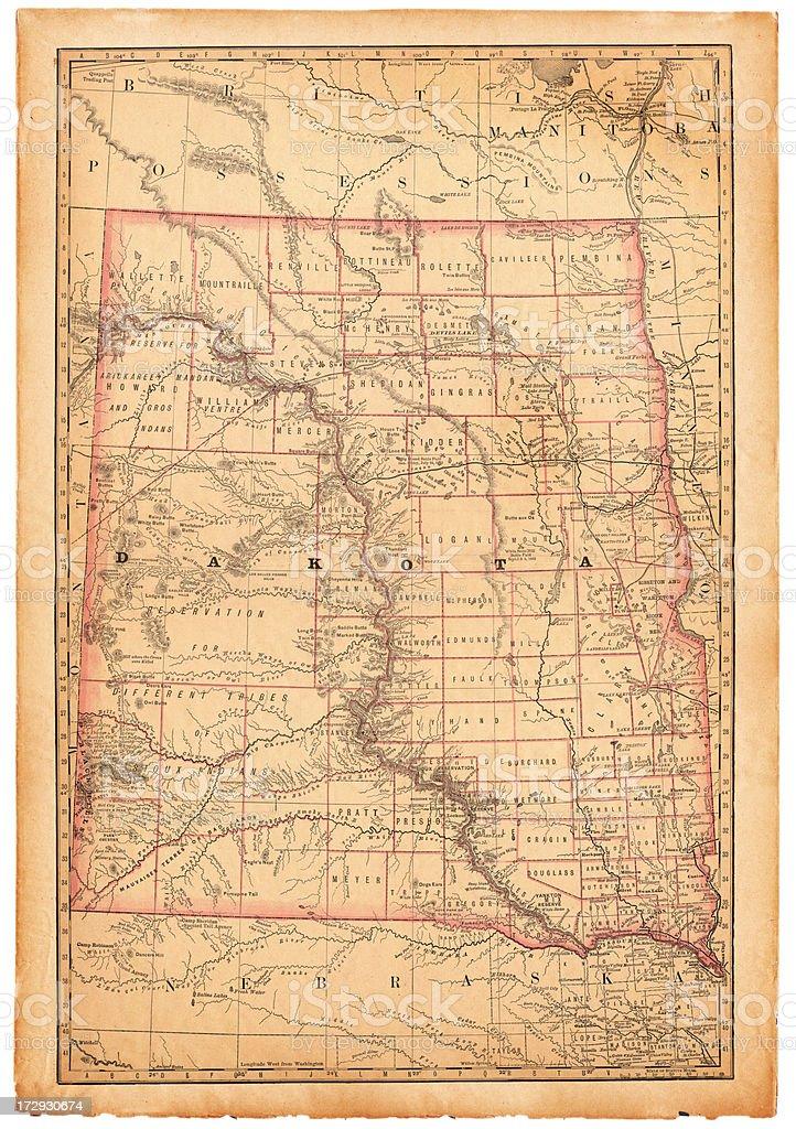 Dakota Old Map royalty-free stock vector art