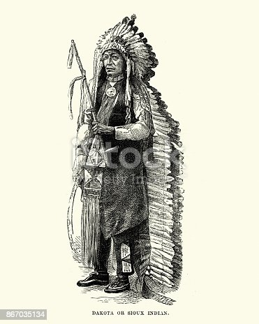 Vintage engraving of a Dakota, Sioux, Native American, in Headress, 19th Century