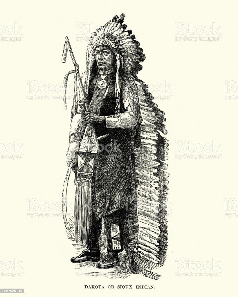 Dakota, Sioux, Native American, in Headress, 19th Century vector art illustration