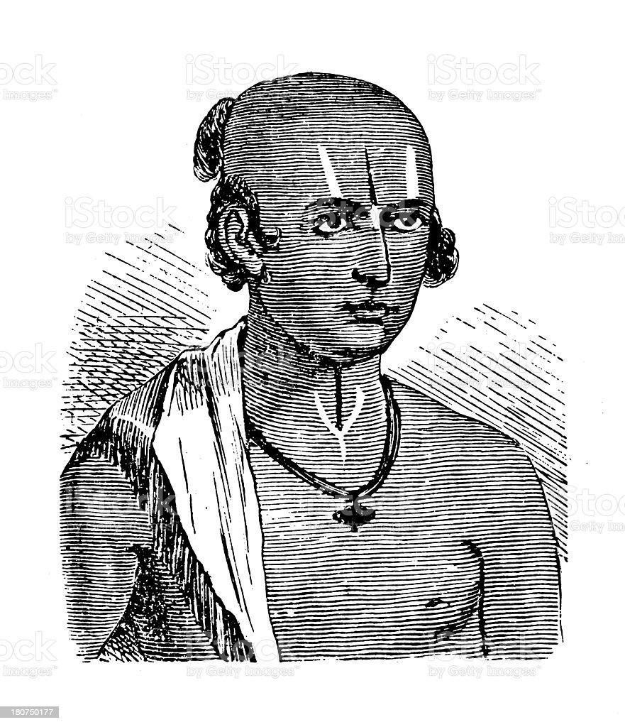 Dalit man, India (antique wood engraving) royalty-free stock vector art