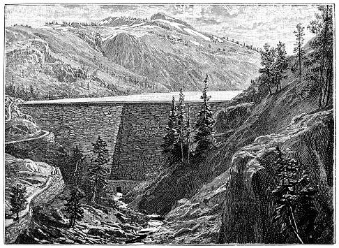 Illustration of a Dam ,water reservoir