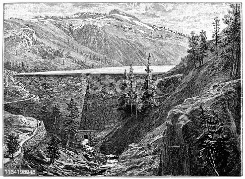 Illustration of a Dam ,water reservoir