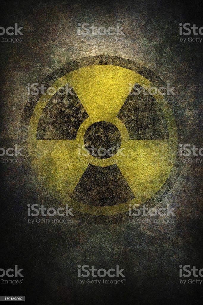 damaged radiation sign on grunge surface royalty-free stock vector art