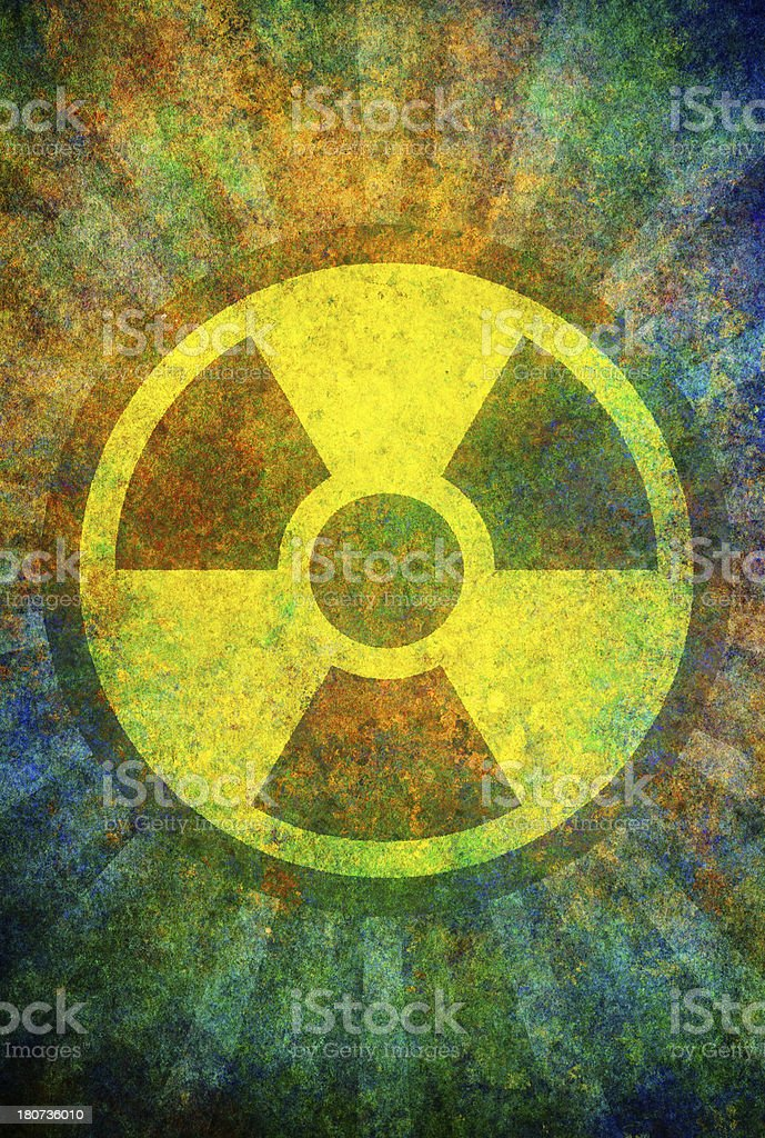 damaged radiation sign on grunge surface royalty-free stock vector art