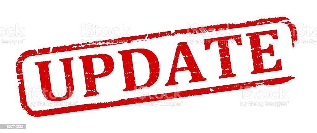 Damaged red oval update vector art illustration