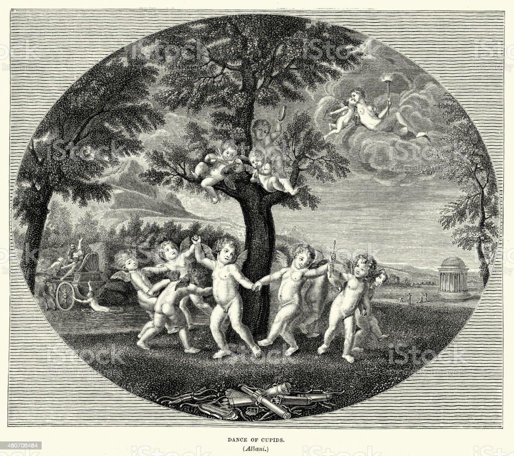 Dance of Cupids vector art illustration
