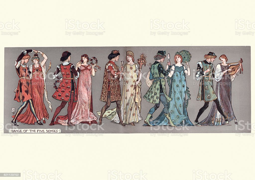 Dance of the Five Senses vector art illustration