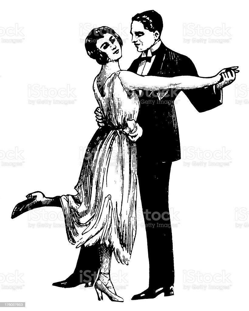 Dancing couple | Antique Design Illustrations vector art illustration