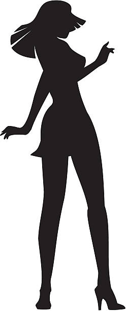Dancing girl silhouette vector art illustration
