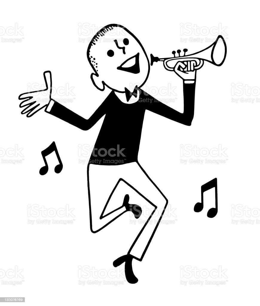 Dancing Man and Trumpet royalty-free stock vector art