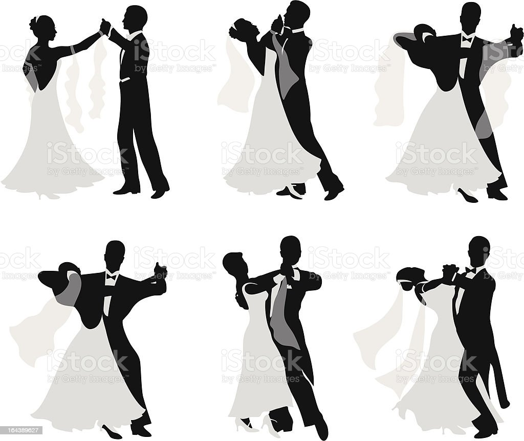 Dancing married couples. royalty-free stock vector art