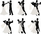 Set of vector silhouettes of dancing married couples.