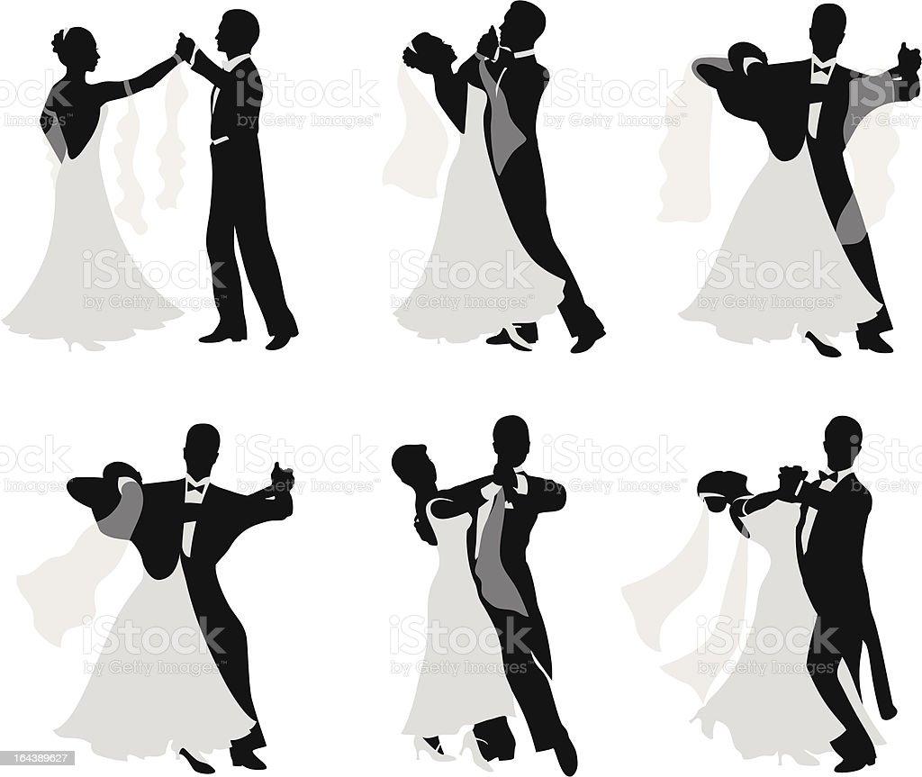 Dancing married couples. vector art illustration