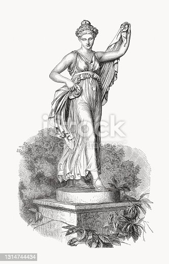 istock Dancing nymph, sculpted by Bertel Thorvaldsen, wood engraving, published 1868 1314744434