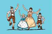 """Vector illustration of a happy dancing bavarian family in Dirndl and Lederhosen. The line art, color and background are on separate layers, so you also can use the illustration on your own background. The colors in the .eps-file are ready for print (CMYK). Included files: EPS (v8) and Hi-Res JPG."""