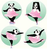 A delightfully talented giant panda is showing some ballet moves. Some gradiences were used. No transparencies. Backgrounds are removable.