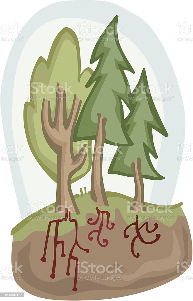 Dancing Roots and Trees royalty-free stock vector art
