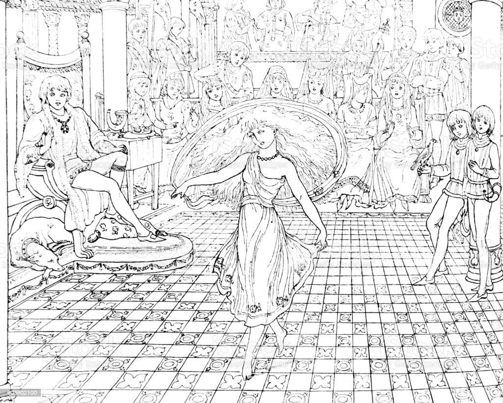 Dança de cena da pequena sereia de Andersen - ilustração de arte em vetor